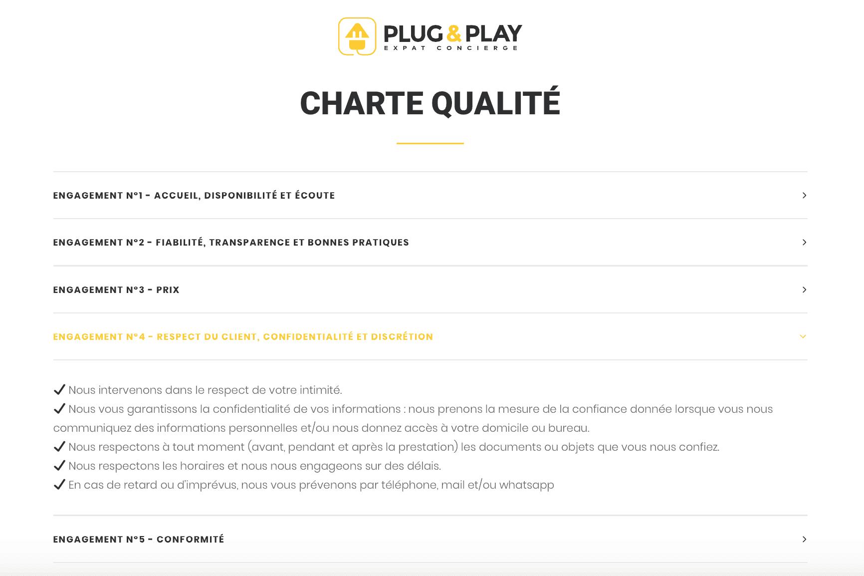 charte qualite - plug and play Barcelona