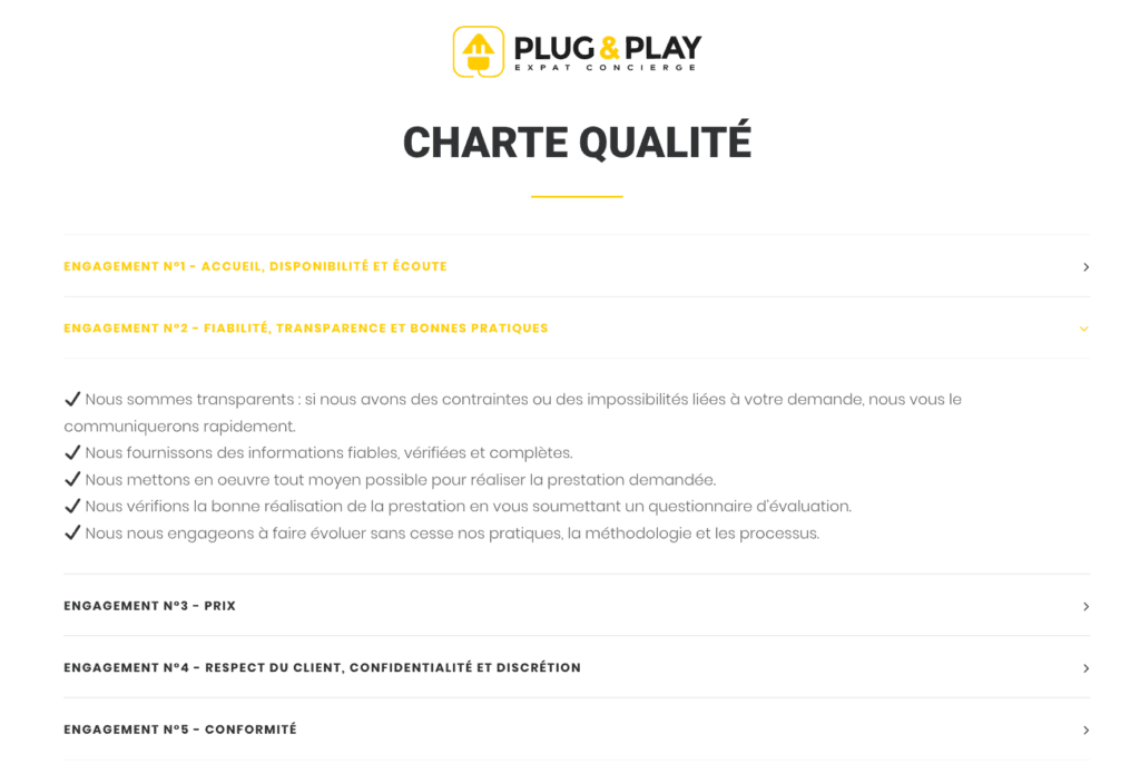 charte qualite fiabilite transparance et bonnes pratiques- plug and play Barcelona